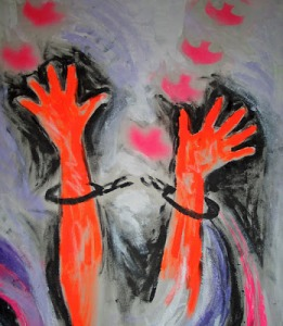 "A painting by Pastor Laura Gentry, ""to let the oppressed go free."""